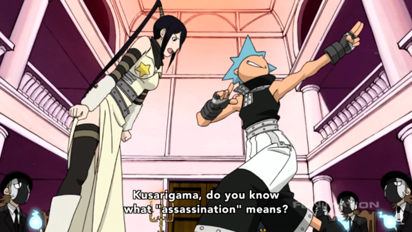 "Tsubaki yelling at a preening Black Star. subtitle: Kusarigama, do you know what ""assassination"" means?"