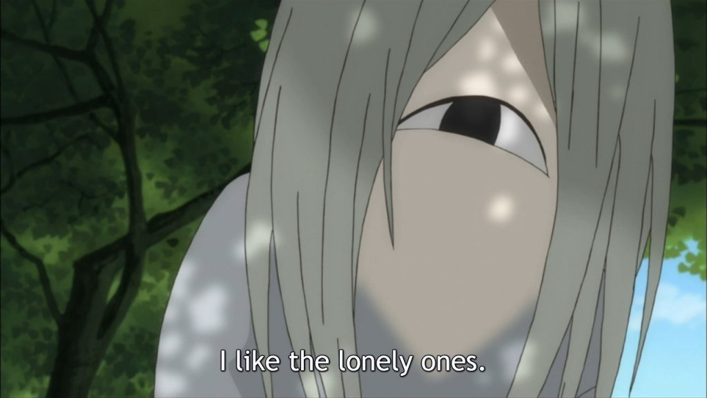 """A closeup of a one-eyed yokai, its eye turned up in a smile. Subtitles read """"I like the lonely ones."""""""