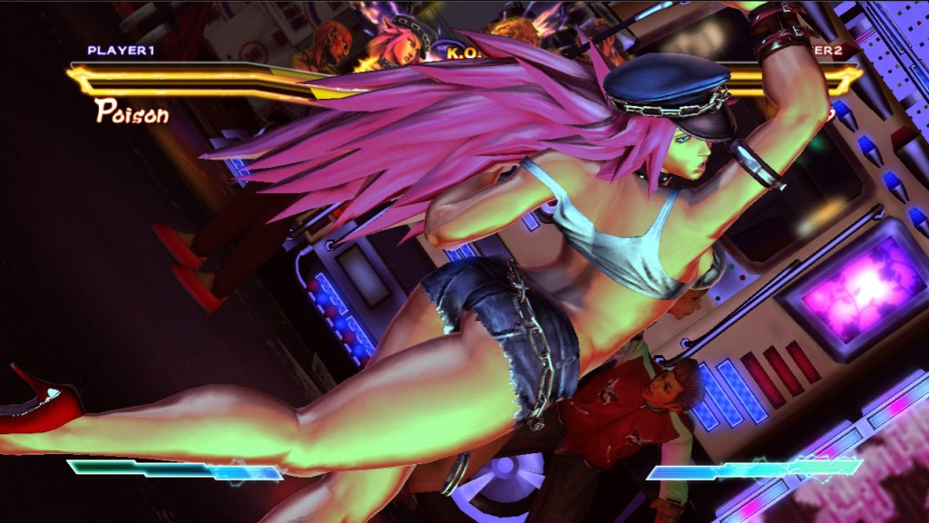 Poison's action pose in-game, looking over her shoulder