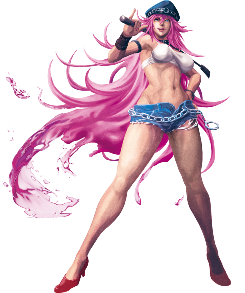 Concept art of Poison in short shorts, heels, a leather daddy cap, and a riding crop