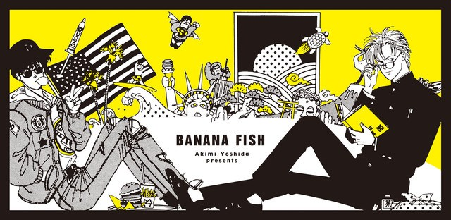 "A manga drawing for Banana Fish. Eiji and Ash lounge on opposite sides of the frame with a variety of objects, many of them American-related (ike the status of liberty) between them. Text in the middle says ""Akimi Yoshida presents Banana Fish"""