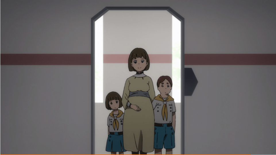 A pregnant young woman stands in a doorway with two children in scout-like uniforms behind her.