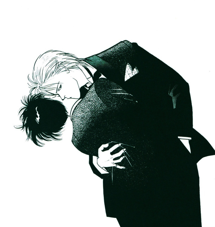 Ash and Eiji in tuxedos, Ash kissing Eiji's neck; taken from the art book
