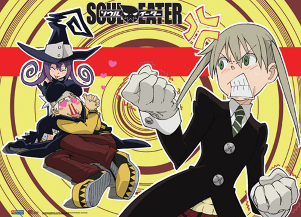 A Soul Eater title card. Maka clenches a fist and glares at Soul, who has his head in Blair's lap, her breasts resting atop his head.
