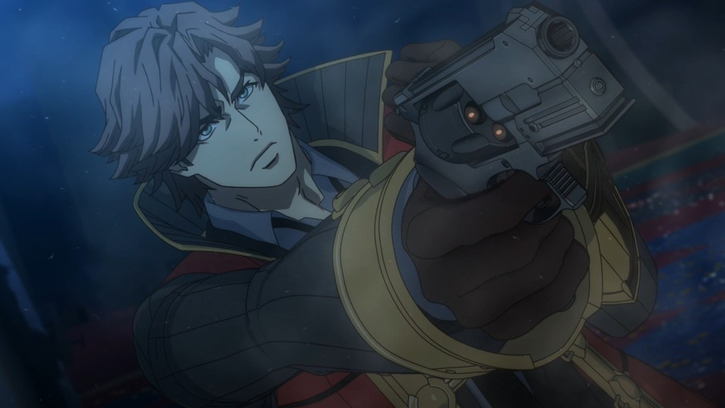 A canted angle; man in a trenchcoat points a gun at someone off-screen