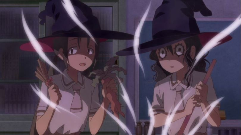 the two occult club members of Asobi Asobase working over the fumes of a bubbling cauldron