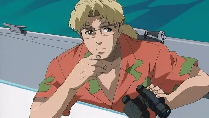 "Benny from ""Black Lagoon"" leans against a boat, holding a pair of binoculars and looking thoughtful"