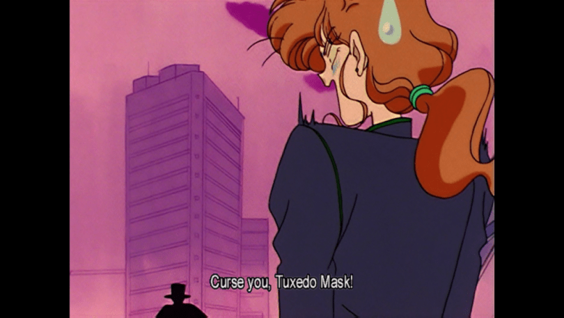 Zoisite shouting and bristling with a sweatdrop. subtitle: curse you, Tuxedo Mask!