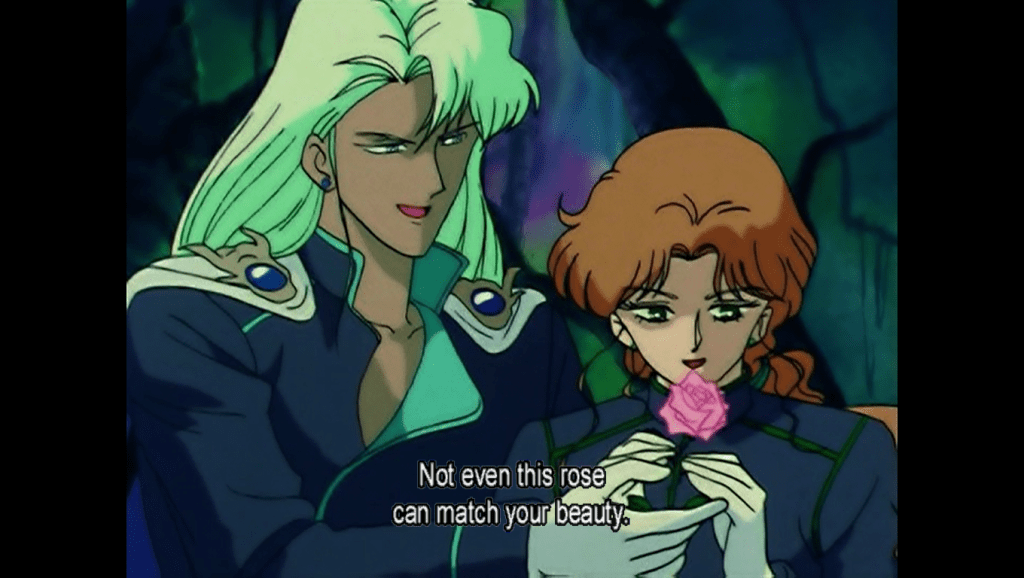 Kunzite handing a delighted Zoisite a rose. subtitle: not even this rose can match your beauty