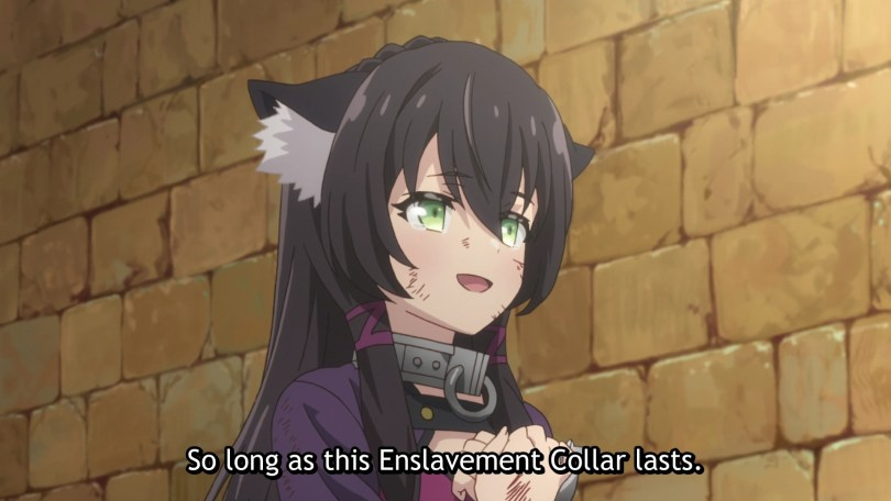 Rem welling up with tears in her eyes Subtitle: As long as this Enslavement Collar lasts.