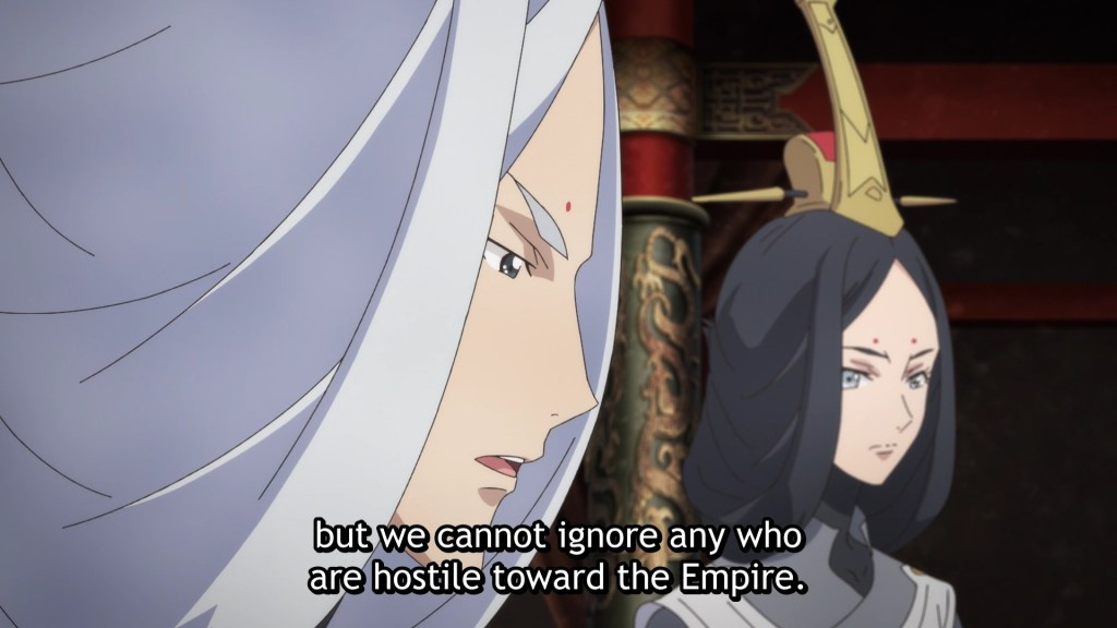 close-up of two ominous looking advisers. subtitle: but we cannot ignore any who are hostile toward the Empire