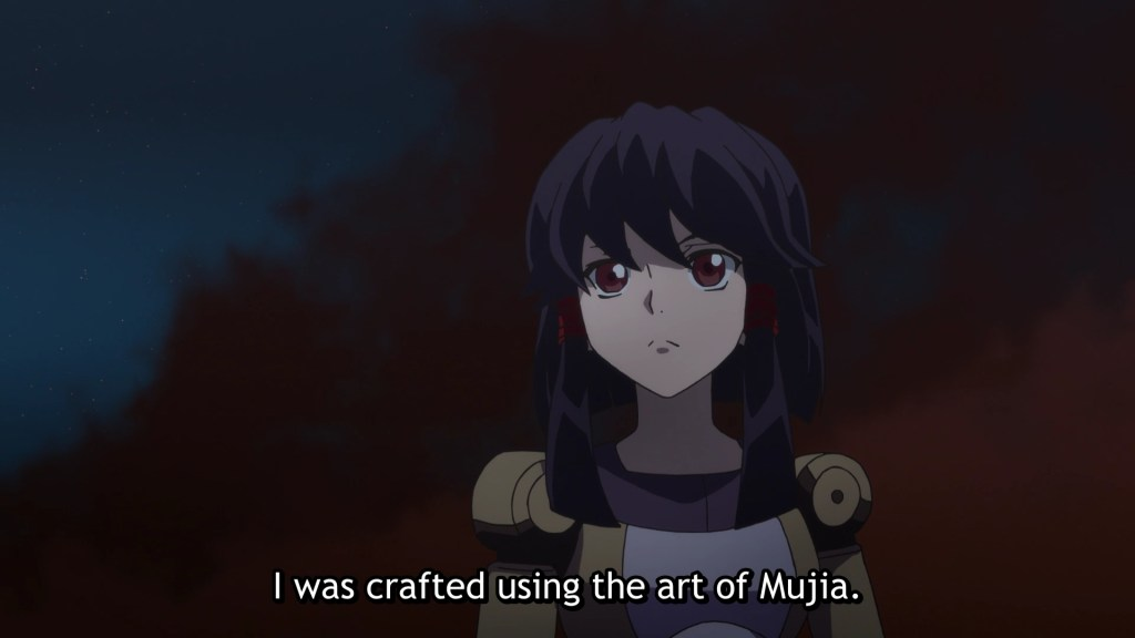 A closeup of Yun. subtitle: I was crafted using the art of Mujia