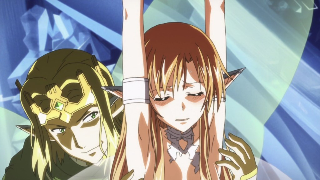 Image from Sword Art Online with a menacing male elf caressing a female elf