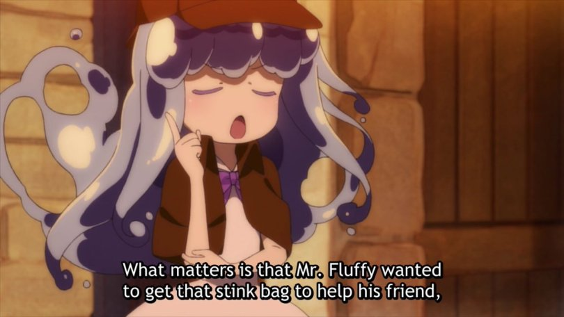 """A girl with water-like hair holds up a finger knowingly and says """"What matters is that Mr. Fluffy wanted to get that stink bag to help his friend"""""""