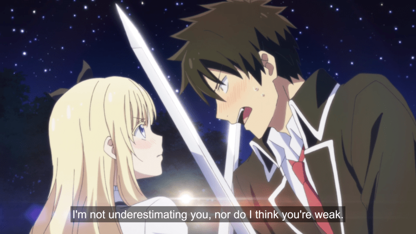 "A boy in a school uniform locks swords with a determined blonde girl. Both are flushed. He says ""I'm not underestimating you, nor do I think you're weak."""
