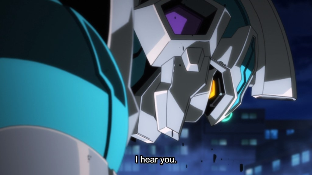 "A close-up of a giant robot. subtitles read ""I hear you"""