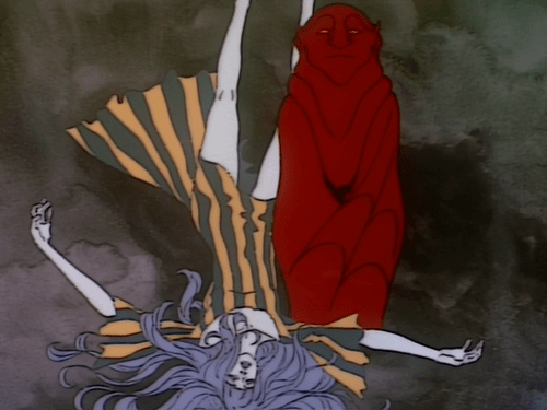 A woman lying on her back next to a red demonic figure