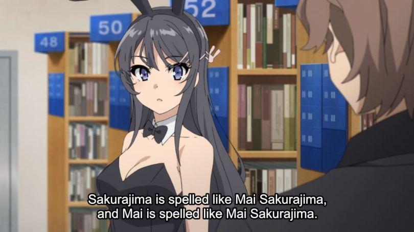 Mai in her bunny suit, talking to Sakuta. subtitle: Sakurajima is spelled like Mai Sakurajima, and Mai is spelled like Mai Sakurajima