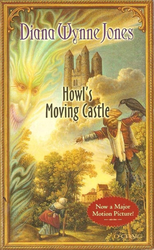 "The cover of the Howl's Moving Castle novel. It features a soaring castle, a flame-faced figure, and a scarecrow. A splash in one corner says ""Now a major motion picture"""