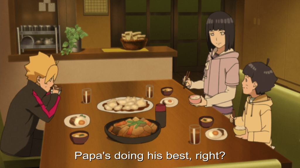 "Boruto, his mother, and brother sitting at a dinner table. Subtitles read ""Papa's doing his best, right?"""