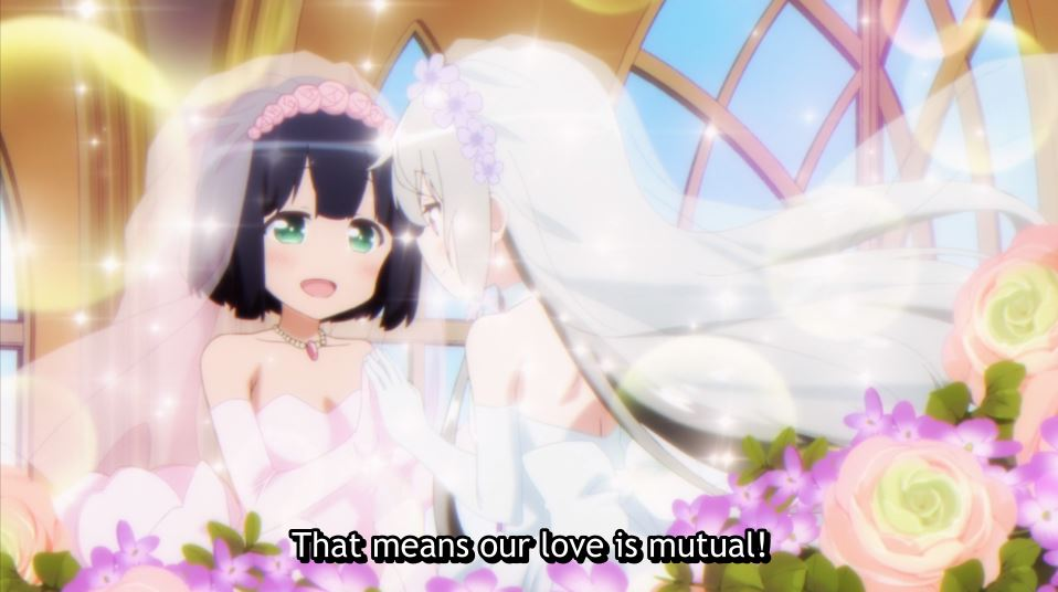 Akari imagining herself and Sophie in wedding dresses. subtitle: This means our love is mutual!