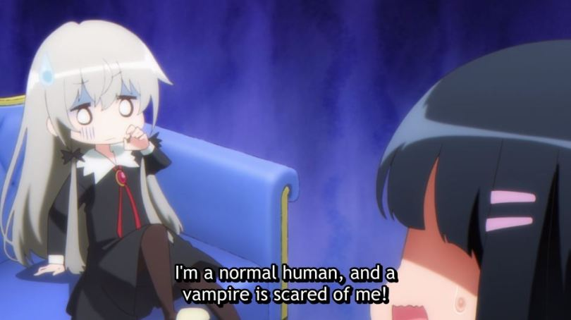 Sophie recoiling from Akari. subtitle: I'm a normal human, and a vampire is scared of me!