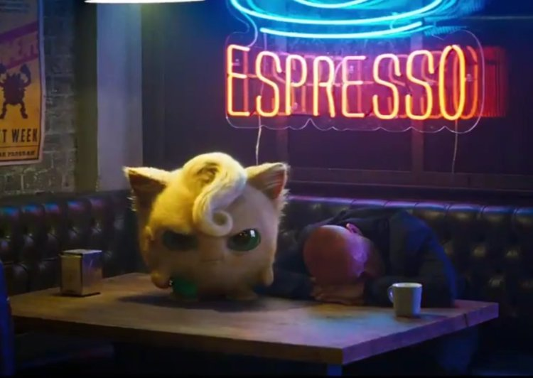 A realistic-looking Jigglypuff on a bar table, angry that the man at the booth has fallen asleep
