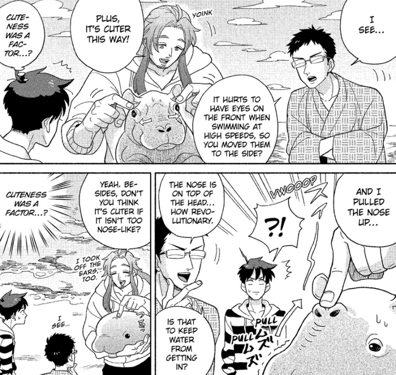 """Manga panels of Neptune explaining how he came up with the design for the dolphin. He keeps talking about how it looks """"cuter this way,"""" and a sweat-dropping Shimoda keeps noting """"So cuteness was a factor, huh...?"""""""