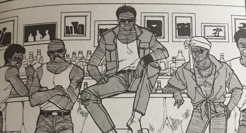 Manga panel of a group of Black men in 1980s-style clothing, leaning against a bar