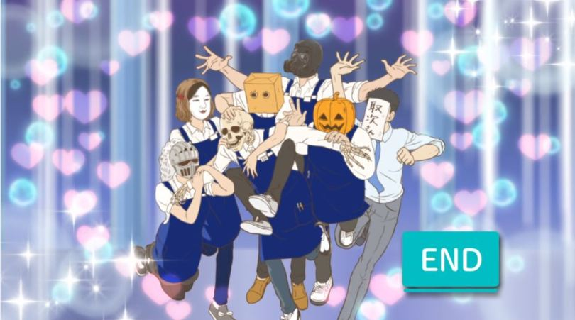 A group of people wearing bookstore uniforms and various headgear (like a pumpkin, a hockey mask, and so on), stand together celebrating