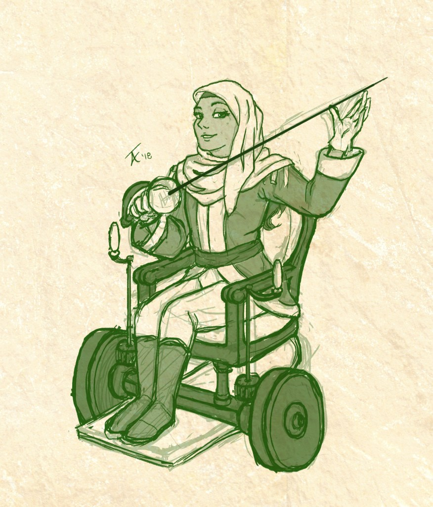 Drawing of a Muslim woman in a hijab, sitting in a historical wheelchair and holding a fencing sword, Rose of Versailles style.