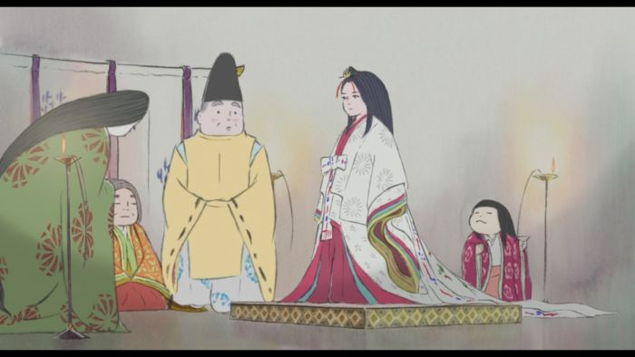Kaguya standing at attention for a ceremony with her family, looking unsatisfied