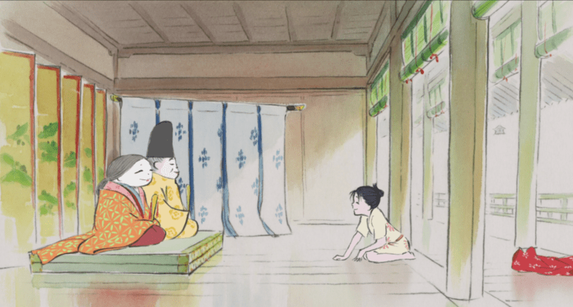 Kaguya kneeling across the room from her parents, who are dressed in full courtly attire
