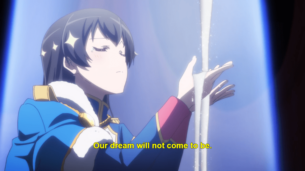 Hikari on stage with sand running through her hands. subtitle: Our dreams will not come to be