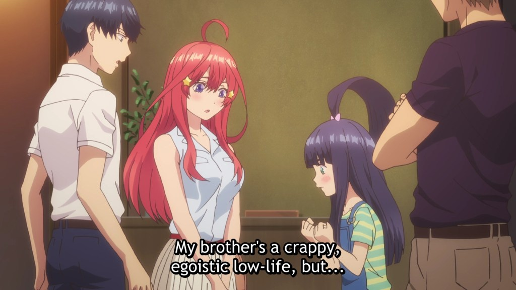 """Fuutarou, his father and Itsuki look down at Raiha: """"My brother's a crappy, egotistic low-life, but..."""""""