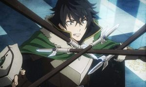 Naofumi grimaces with four spears crossed in front of him