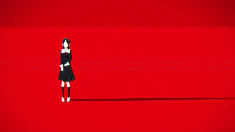 Kaguya stands against a stark red background
