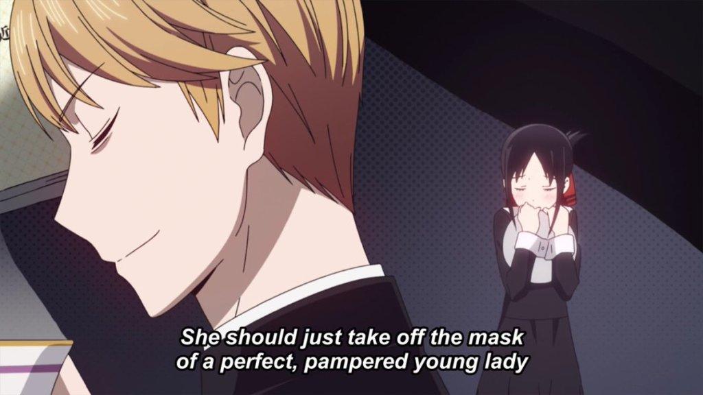 Shirogane smirks in the foreground while imagining Kaguya blushing demurely