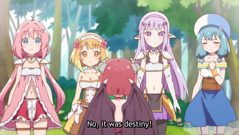 Yusha, Fai, Seira, and Mei face the Demon Lord Mao looking quizzical