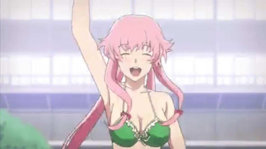 Yuno smiling and waving in a bikini