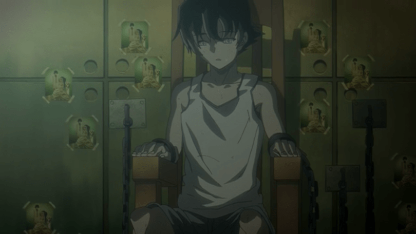 Yuki in his underwear, tied to a chair. pictures of himself and Yuno are taped around him