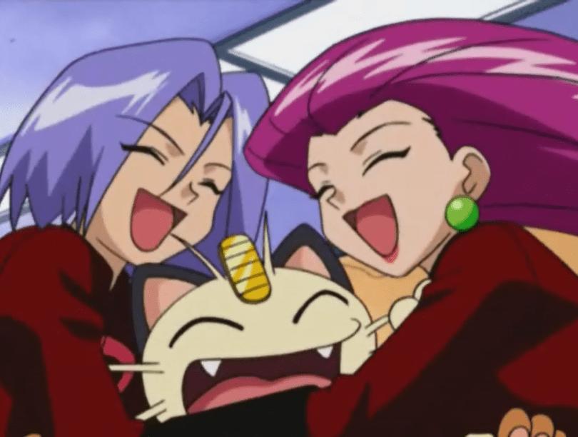 Jessie, James, and Meowth hug happily