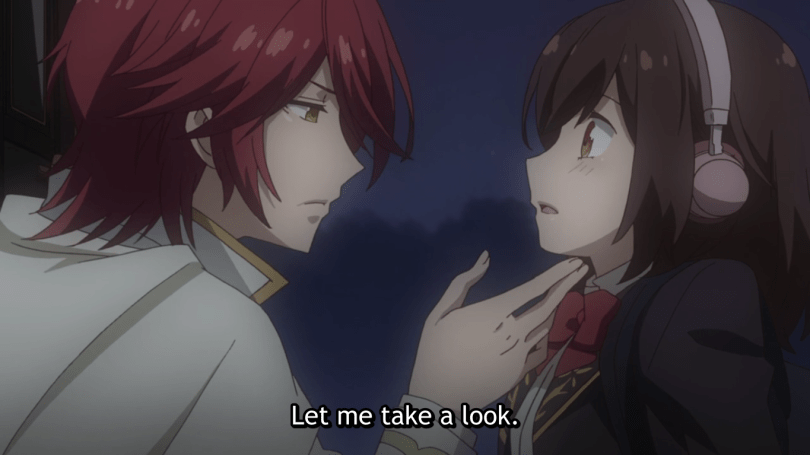 A red-haired man lifts the heroine's chin