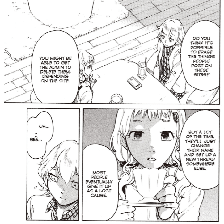 """Manga page of two young women at a cafe talking about online harassment. One asks if they could get the messages removed and the other says the person will just """"change their name and set up a new thread somewhere else."""""""