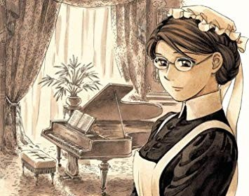Emma, wearing a Victorian maid uniform and standing before a piano