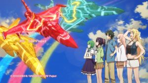 Four girls and a boy lined up looking out at a blue sky with three brightly colored jets flying by