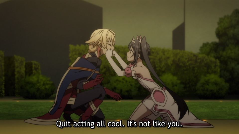 Yuki kneeling and pinching a blond young man's cheeks. subtitle: quit acting all cool. It's not like you.