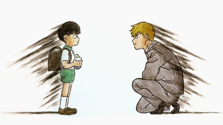 Mob Psycho 100: a grown man in a suit kneeling to talk to a black-haired grade-schooler wearing a backpack against a stark white background