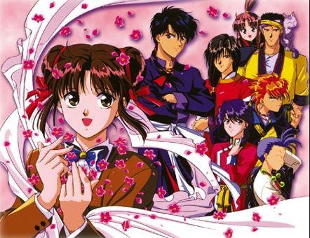 A promo image for Fushigi Yugi with the lead Miaka out front, surrounded by flower petals, and her guardians clustered together on the right side of the image