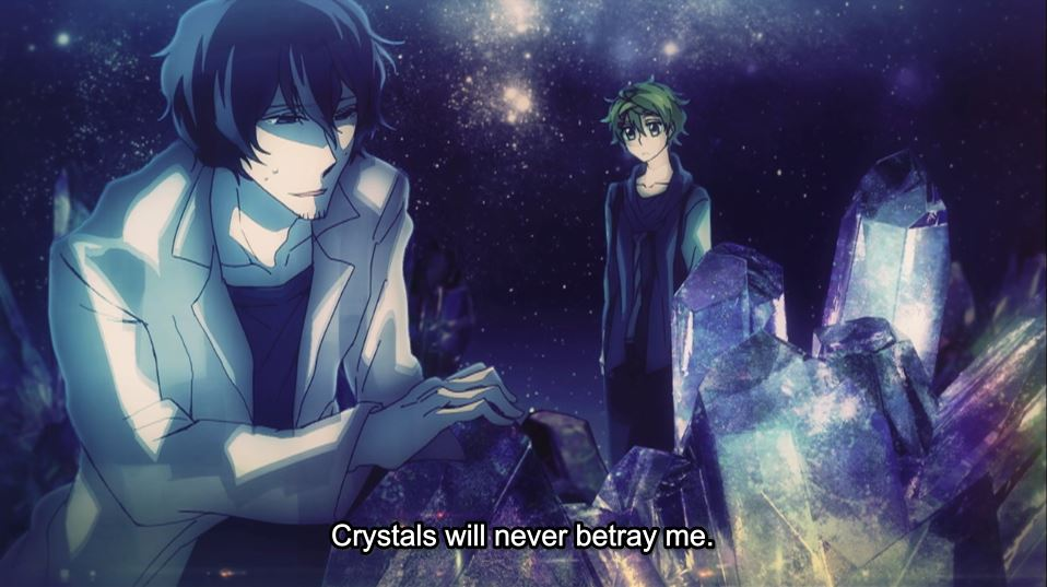 a man in a lab coat crouching in front of a crystal formation while a teen watches him in the background. subtitle: Crystals will never betray me